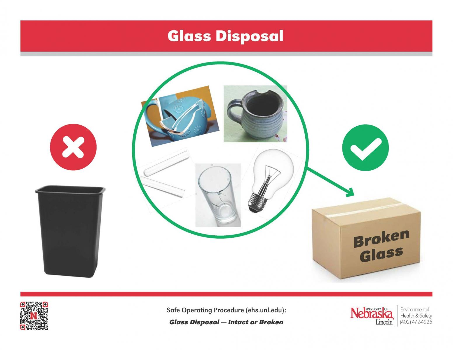poster describing how to dispose glass properly