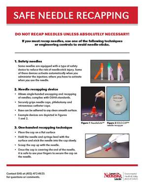 Safe Needle Recapping Poster discussing about not recapping needles unless absolutely necessary