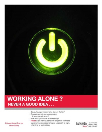 Image of Never work alone safety poster