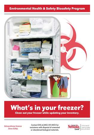 Image of Biohazard program poster reminding readers to keep an up to date inventory of what is in the freezer