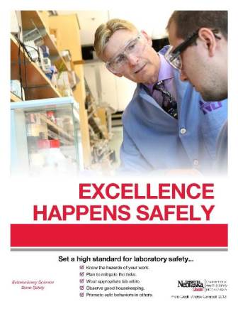Poster of Excellence Happens safely with two individuals pictured conversing in a lab environment