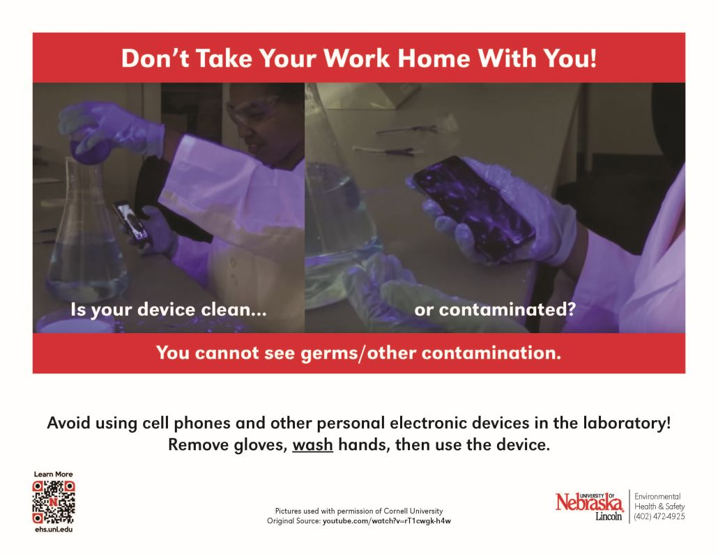 posters warning of germs and contamination that could get on your cellphone if you use it in the lab