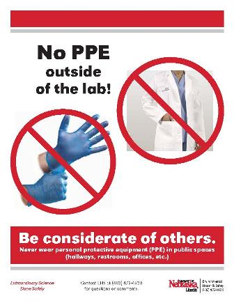 Poster for No personal protective equipments outside the lab poster