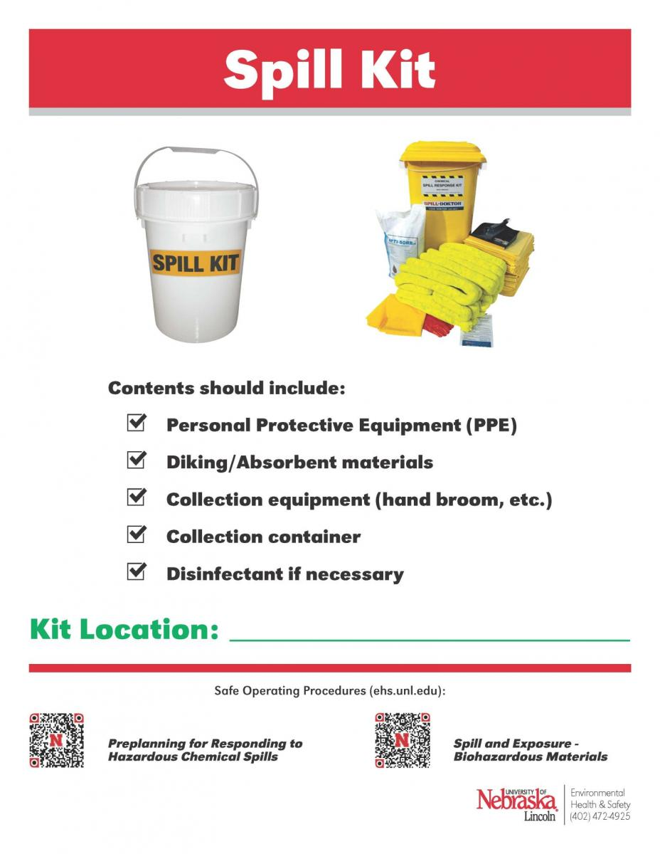 poster describing what a spill kit is and the location of said kit